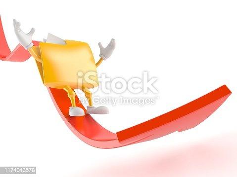 istock Folder character sliding on red arrow 1174043576