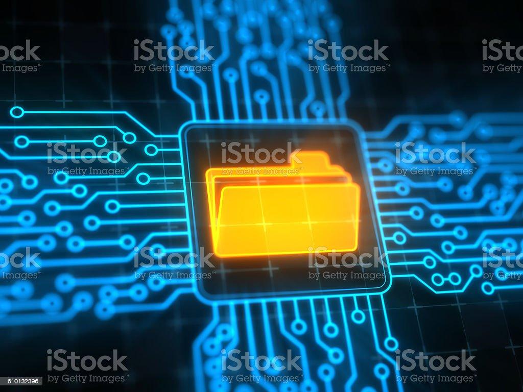 Folder concept on digital screen stock photo