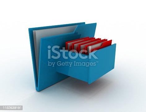 Cabinet with file folder . 3d rendered illustration