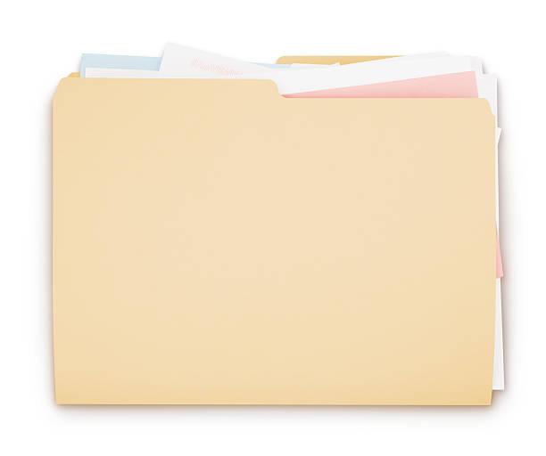 Folder full of paperwork stock photo