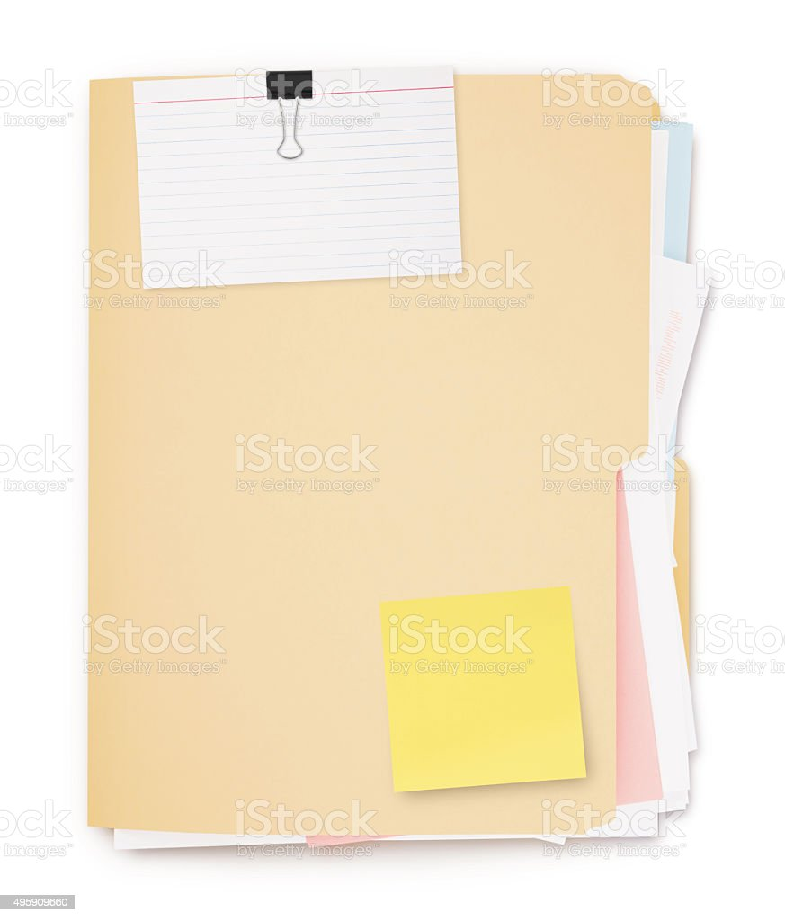 Folder full of paperwork (with path) stock photo