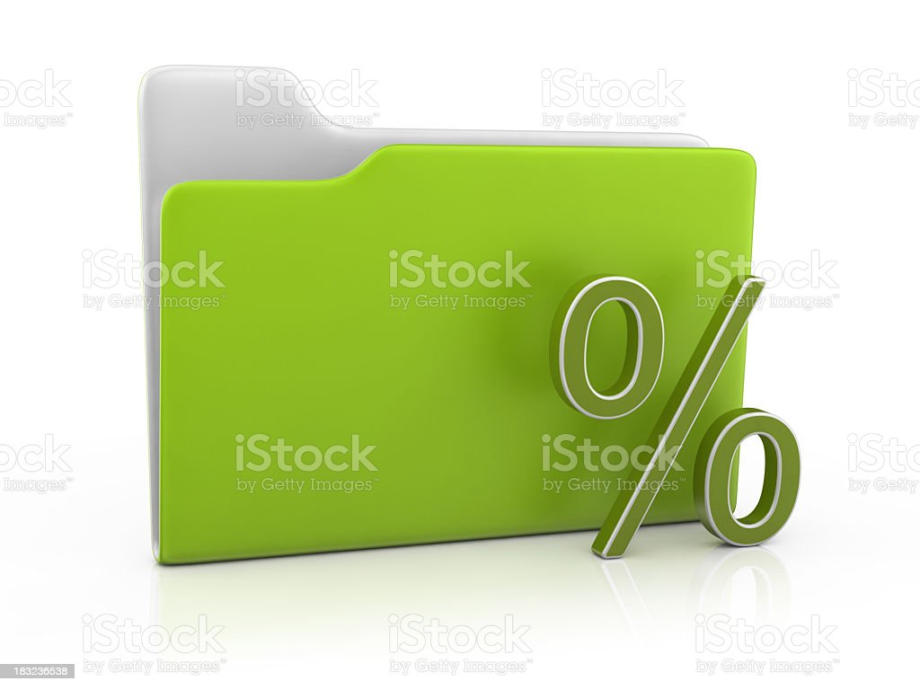 Folder Icon and Percentage Sign royalty-free stock photo