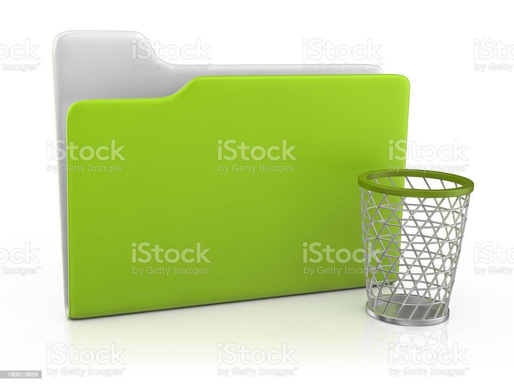 Folder Icon and Wastepaper Basket royalty-free stock photo