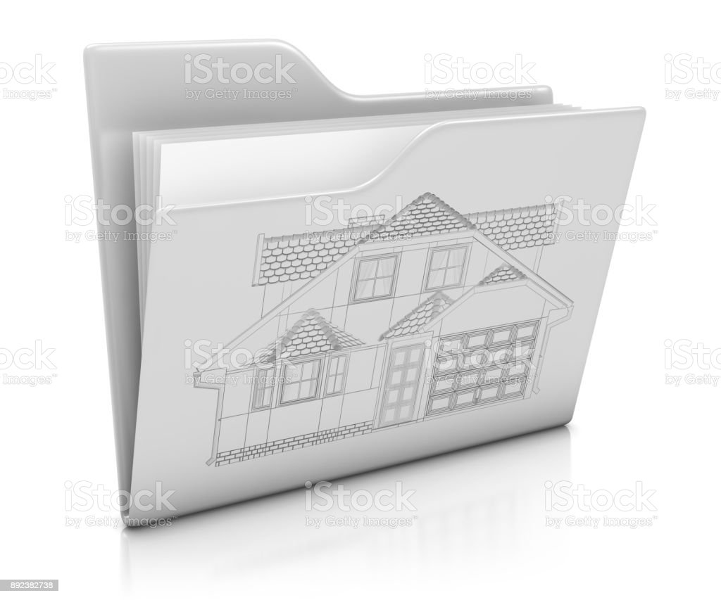 Folder Icon with Architecture Project stock photo