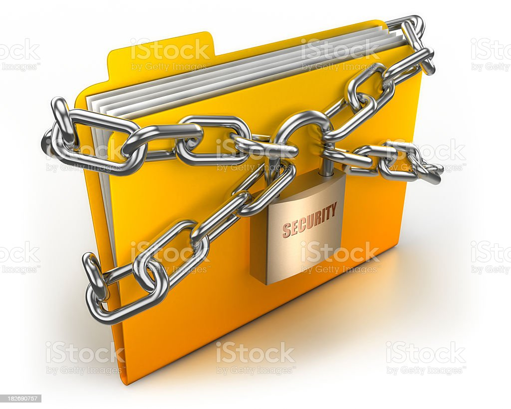 Folder in chains security concept - isolated with clipping path stock photo