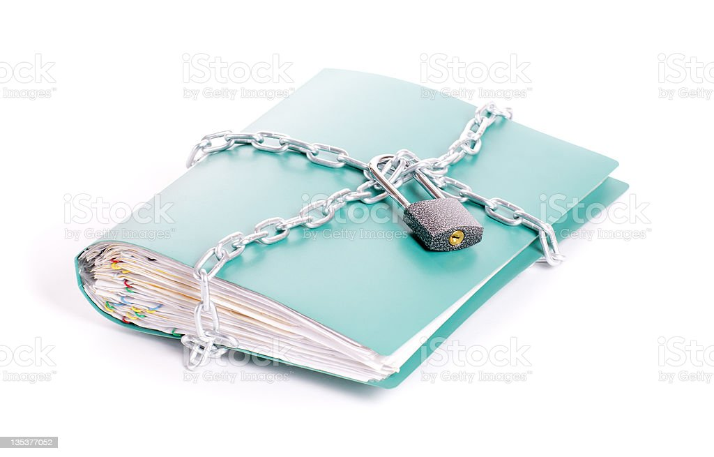 Folder security whit  chain and padlock stock photo