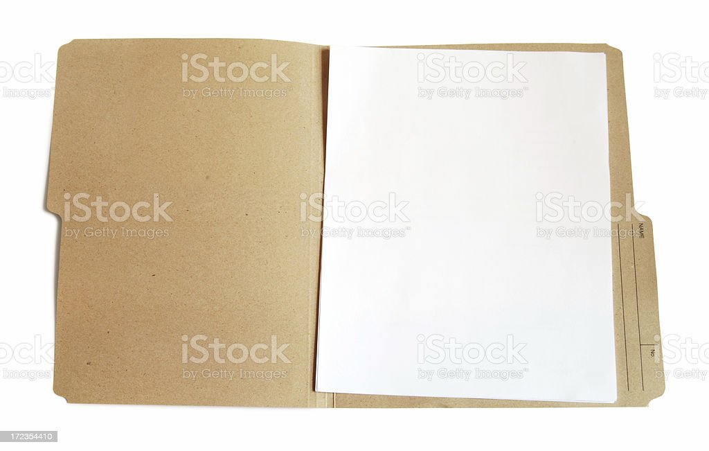 Folder with blank document royalty-free stock photo