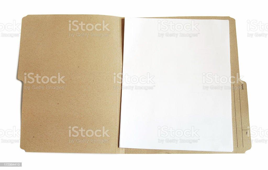 Folder with blank document stock photo