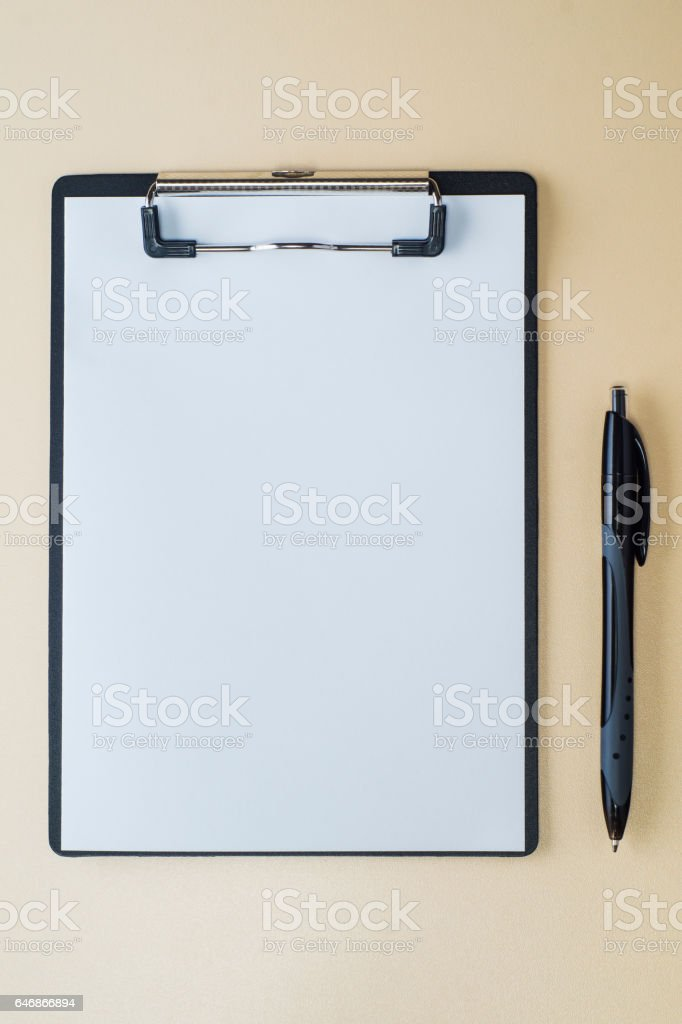 Folder with blank paper design mockup stock photo