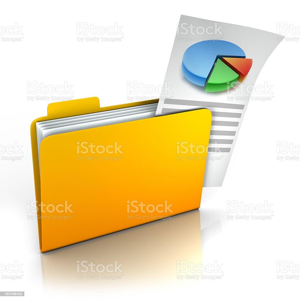 Carpeta con gráfico sacando aislado con trazado de recorte foto de stock libre de derechos