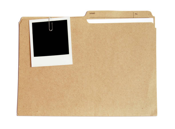 Folder with document and picture stock photo