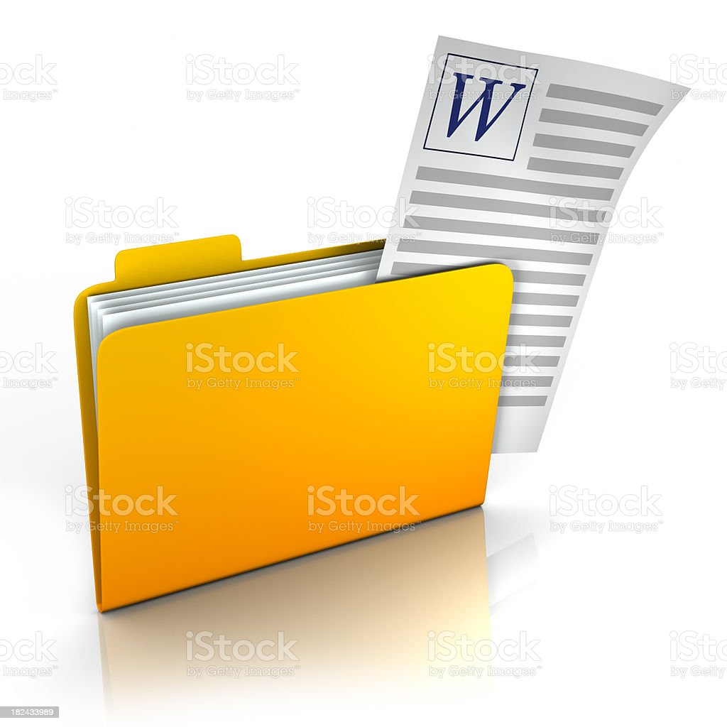 Folder with document sticking out - isolated w/ clipping path royalty-free stock photo