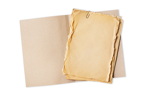 Folder with empty old yellowed paper sheets