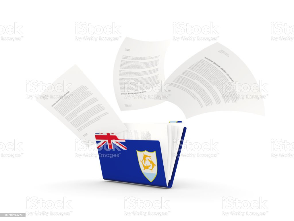 Folder with flag of anguilla stock photo