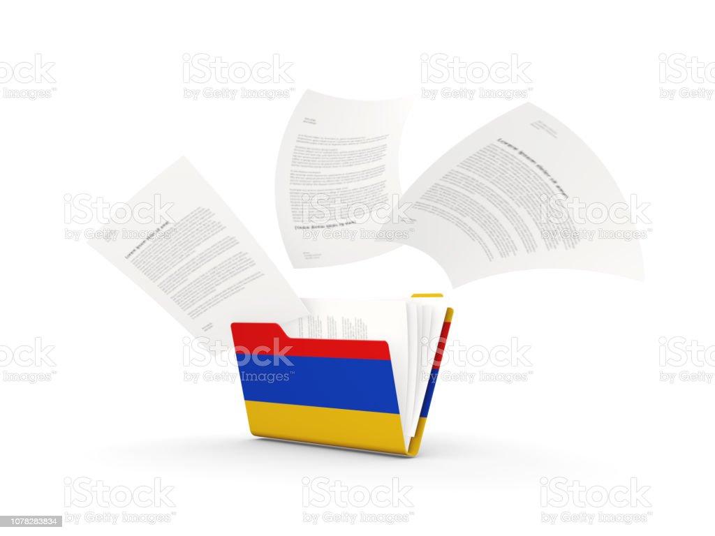 Folder with flag of armenia stock photo