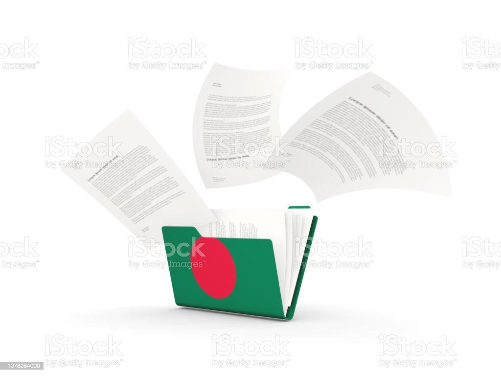 Folder with flag of bangladesh stock photo