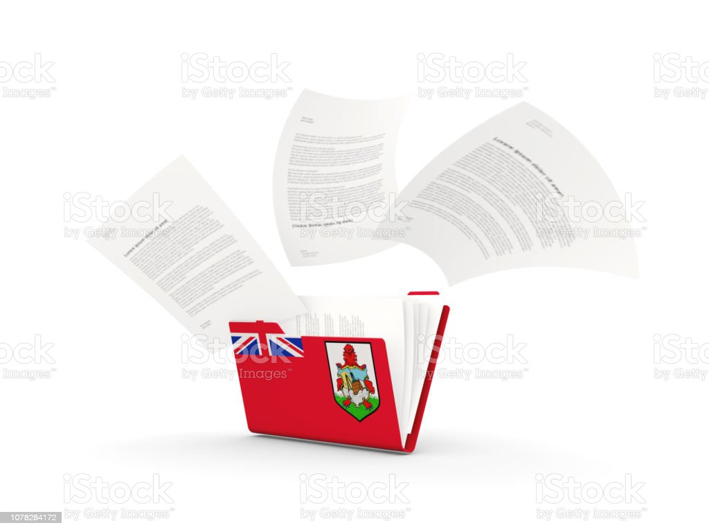 Folder with flag of bermuda stock photo