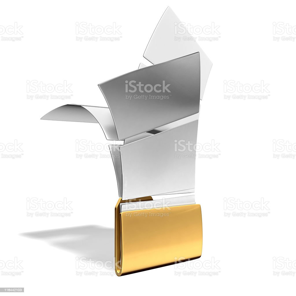 folder with flying papers royalty-free stock photo