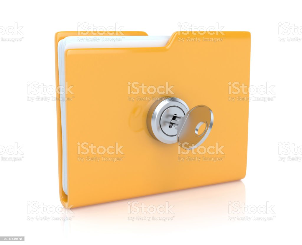 Folder with key stock photo