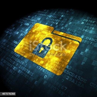 istock Folder with lock icon on alphanumeric background 467576265
