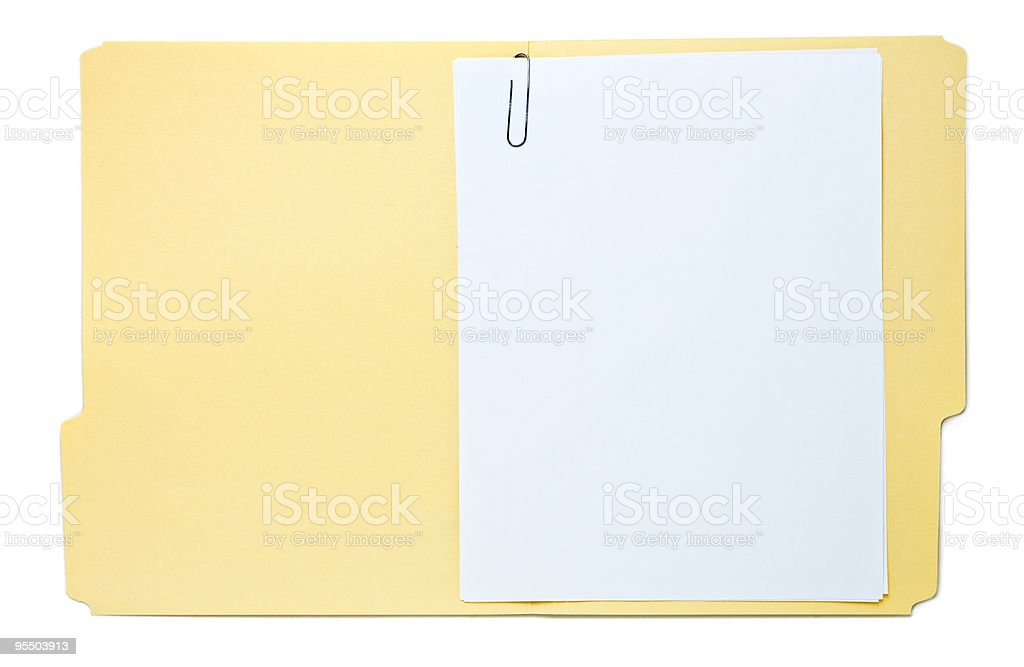 Folder with Paperwork Isolated on White stock photo