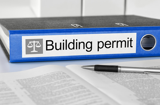 Folder with the label Building permit