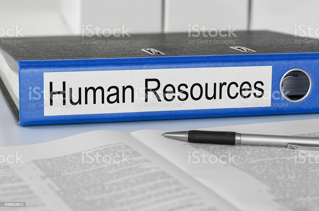 Folder with the label Human Resources stock photo
