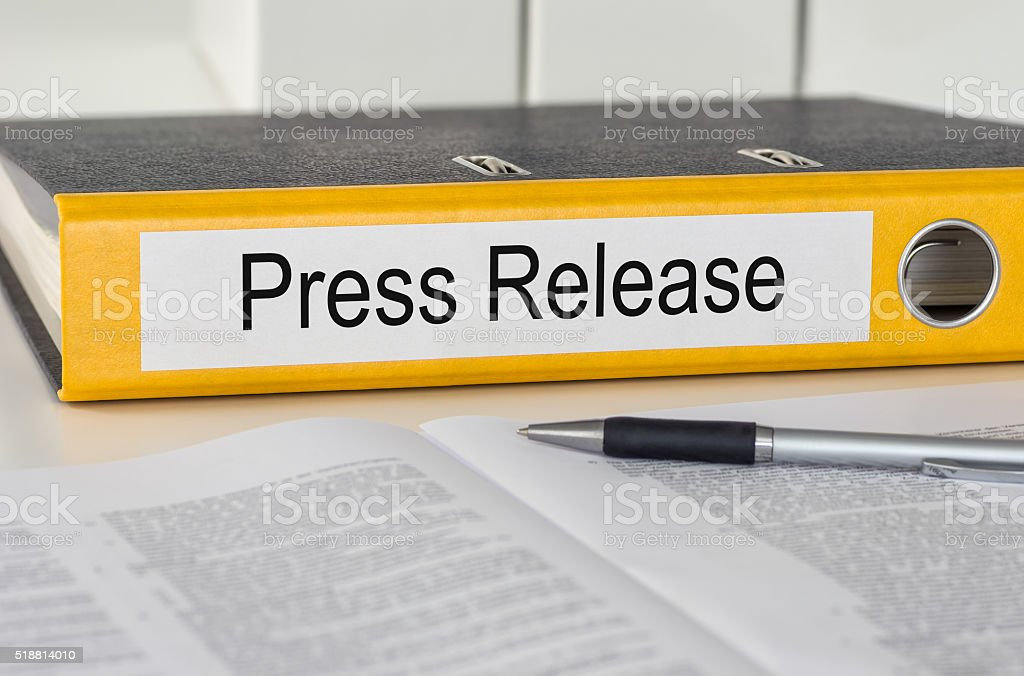 Folder with the label Press Release stock photo