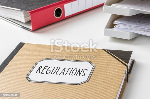 464906632 istock photo Folder with the label Regulations 538404981