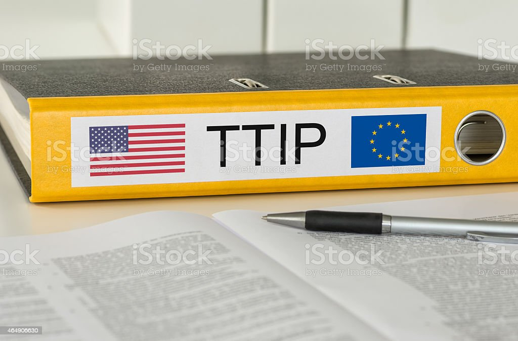 Folder with the label TTIP stock photo