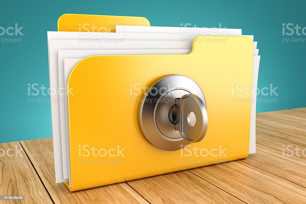 folder with the lock on a wooden table 3d stock photo
