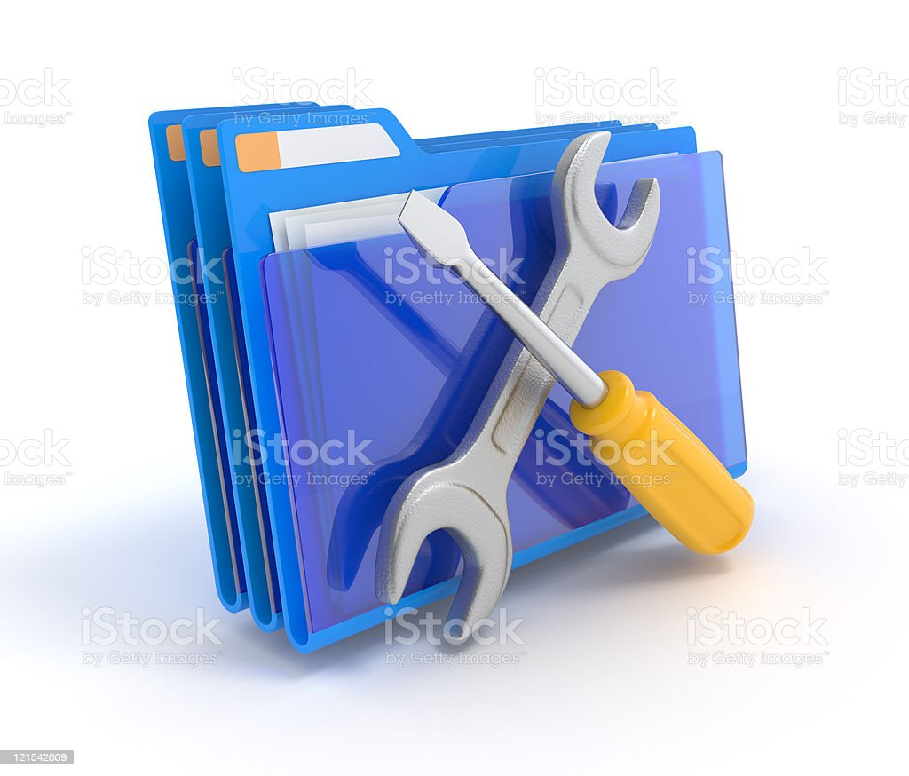 Folder with tools. royalty-free stock photo