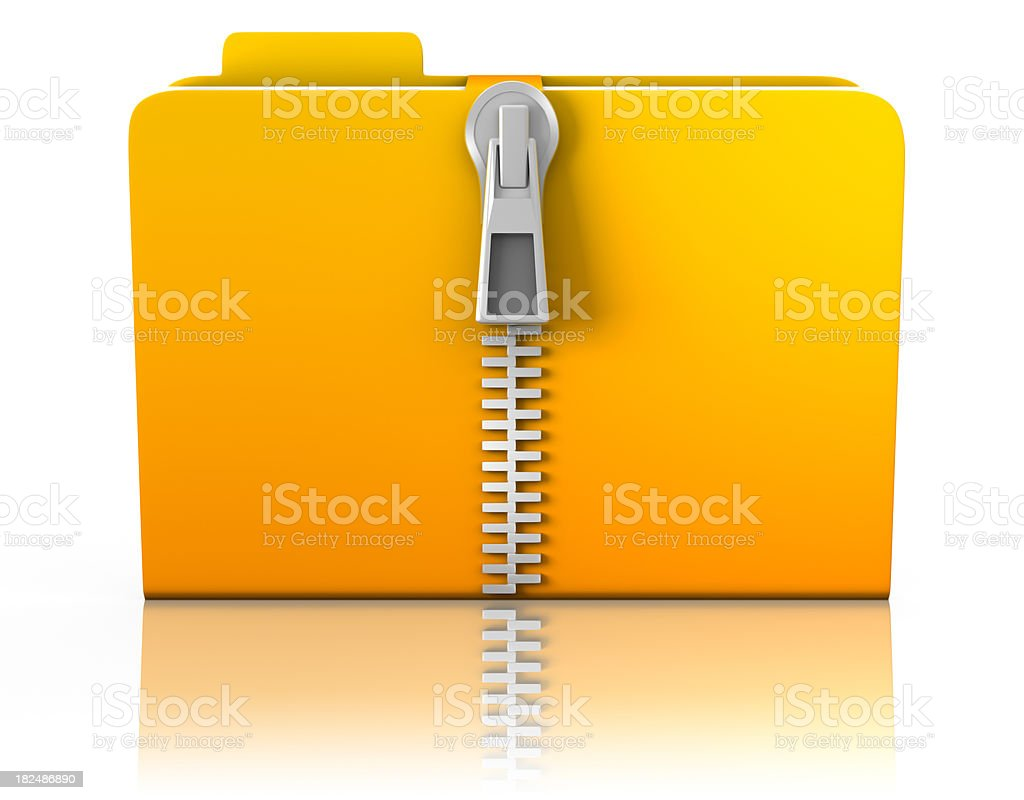 3D Folder with zipper - isolated & clipping path stock photo