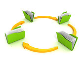 istock Folders and arrows. Concept of data downloading 518427111