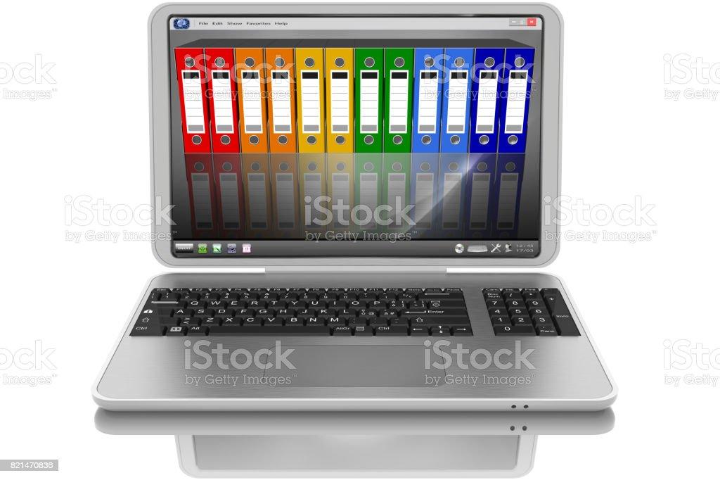 Cartelle, raccoglitori. Computer portatile grigio. stock photo