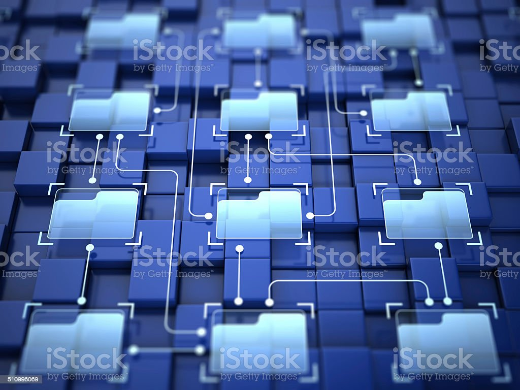 Folders connection stock photo