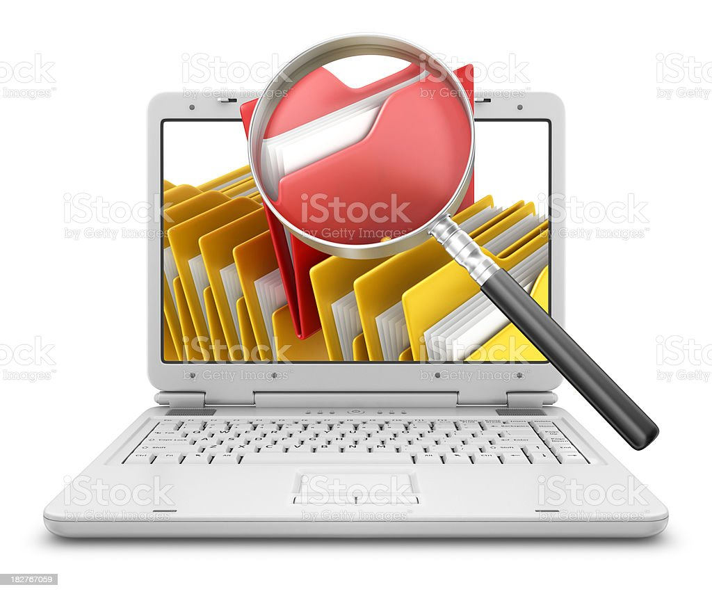 folders in laptop with loupe stock photo