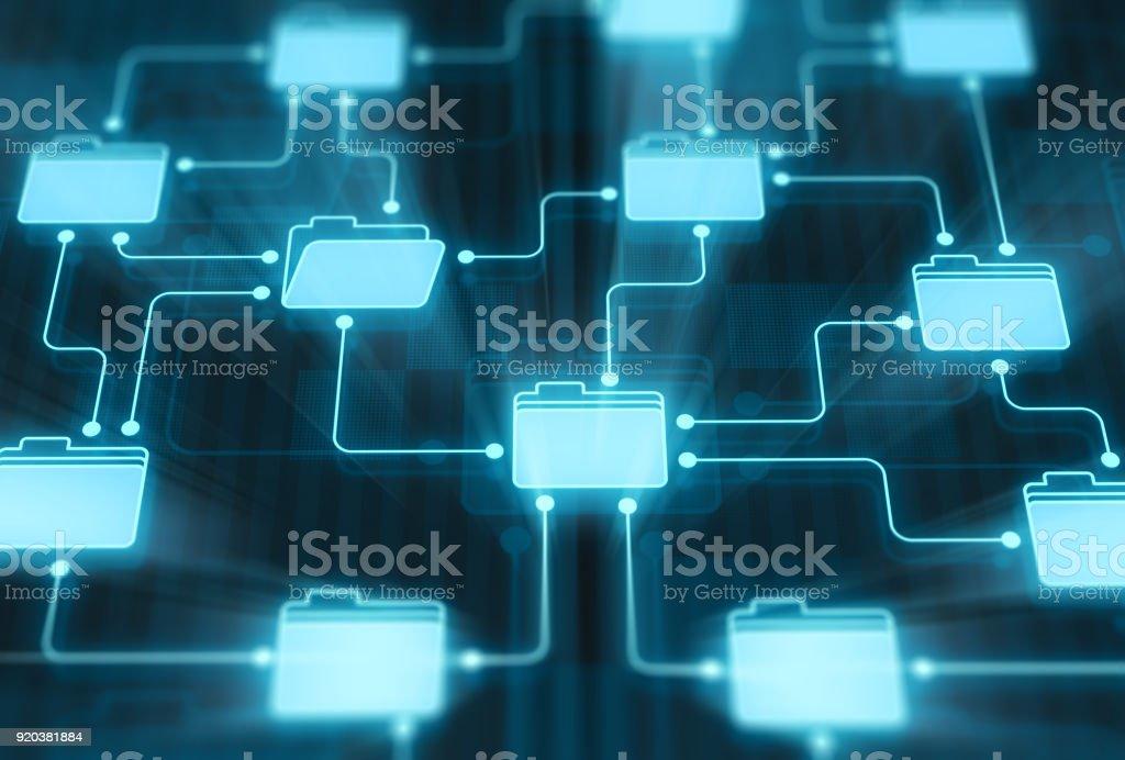Folders network on digital display stock photo