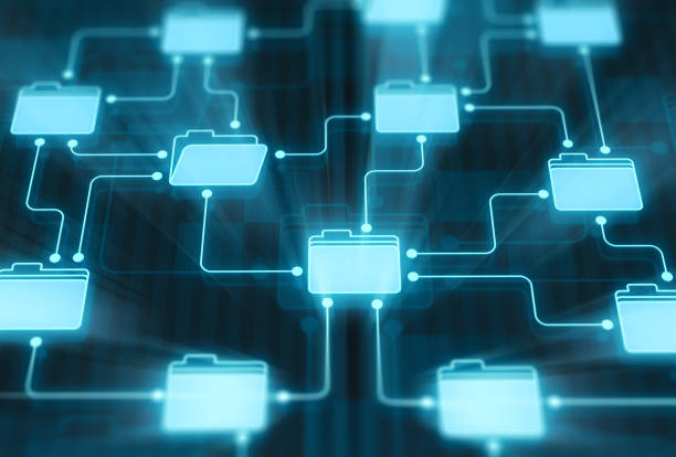 Folders network on digital display Folders network on digital display ring binder stock pictures, royalty-free photos & images