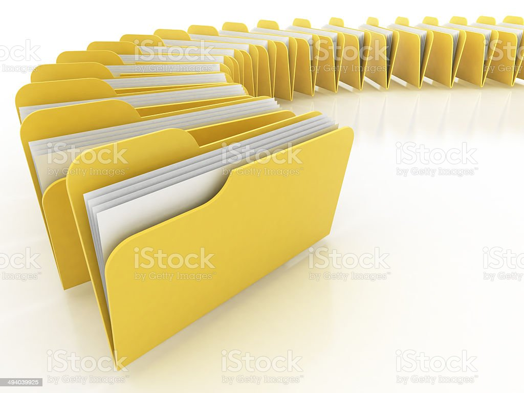 folders on the white background stock photo