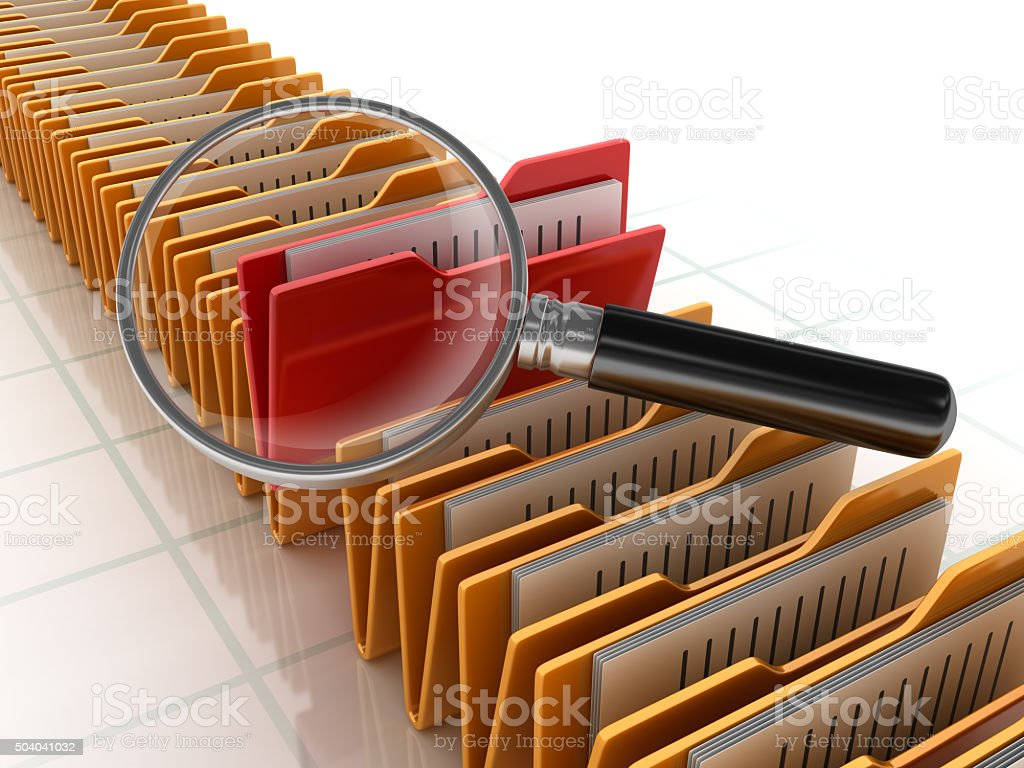 Folders Search with Magnifiying Glass stock photo