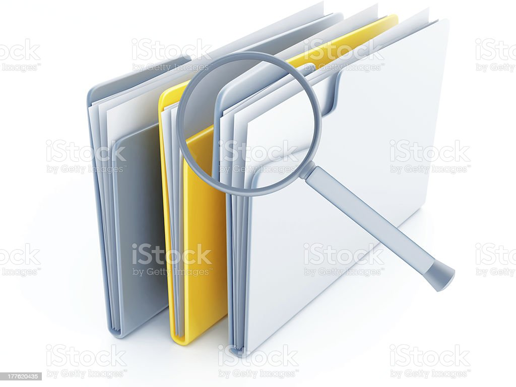 folders under magnifier royalty-free stock photo