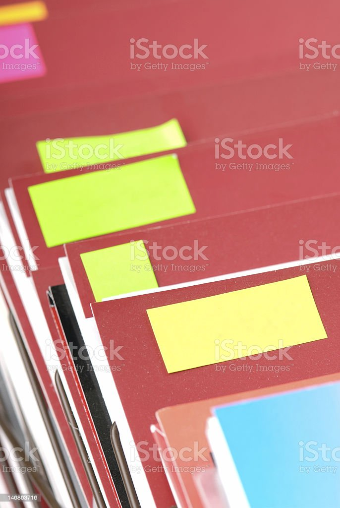 Folders with copyspace stickers royalty-free stock photo