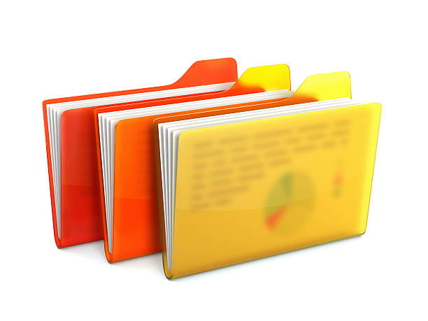 Folders with files stock photo