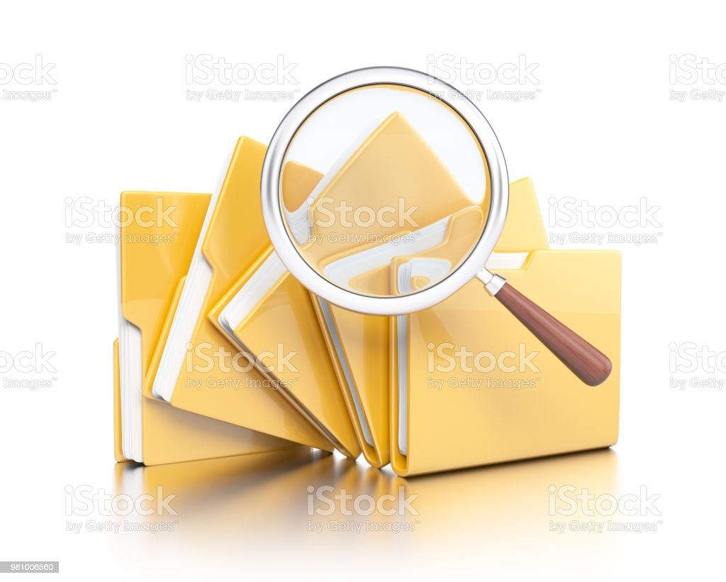 Folders with magnifier glass stock photo