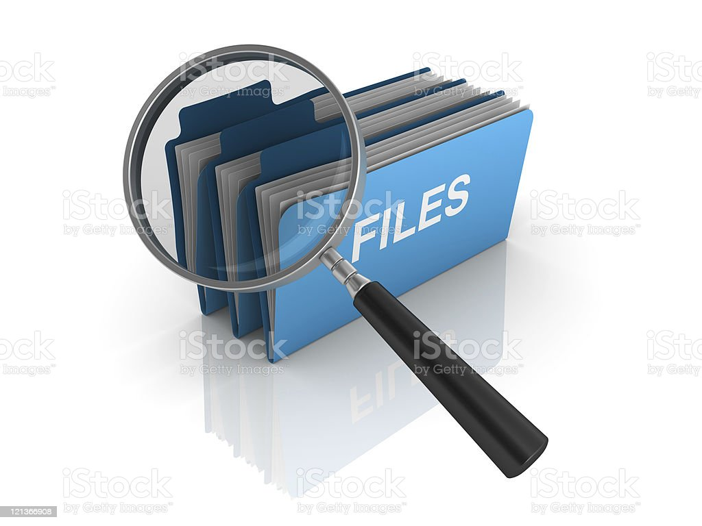 3D Folders with Magnifying Glass royalty-free stock photo