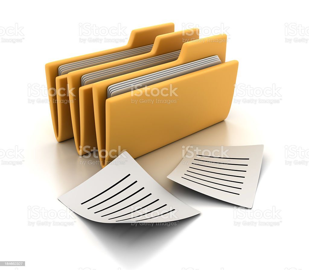 3D Folders with Papers royalty-free stock photo