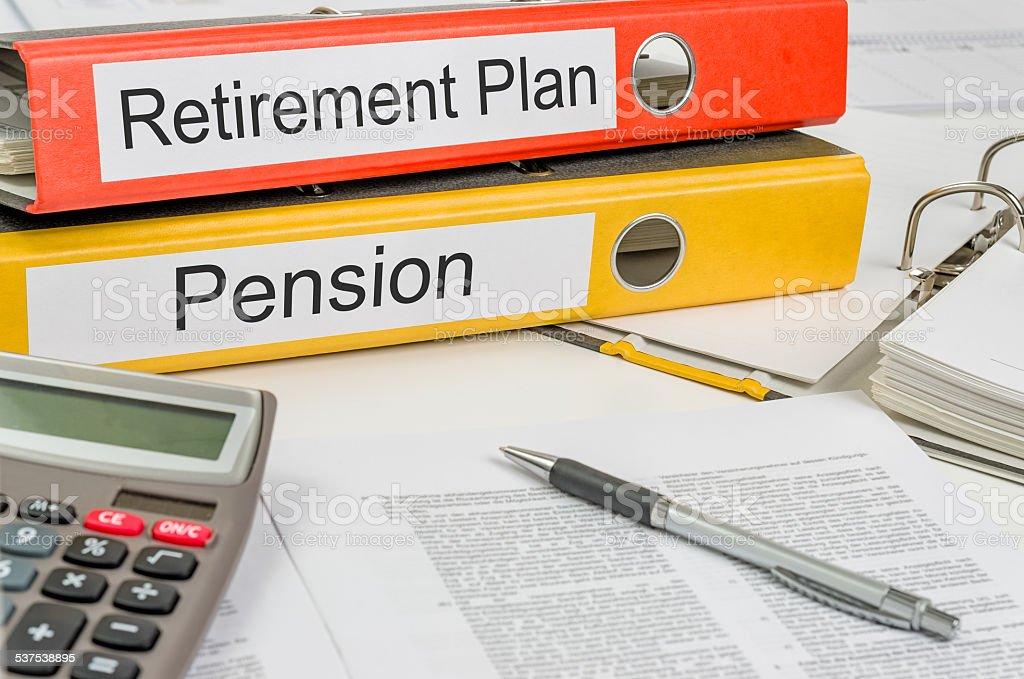 Ordner mit dem label setzen und Pension Plan – Foto