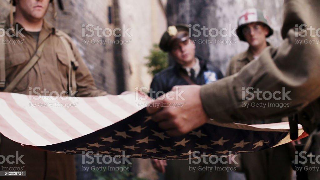 Folding Amercian Flag stock photo