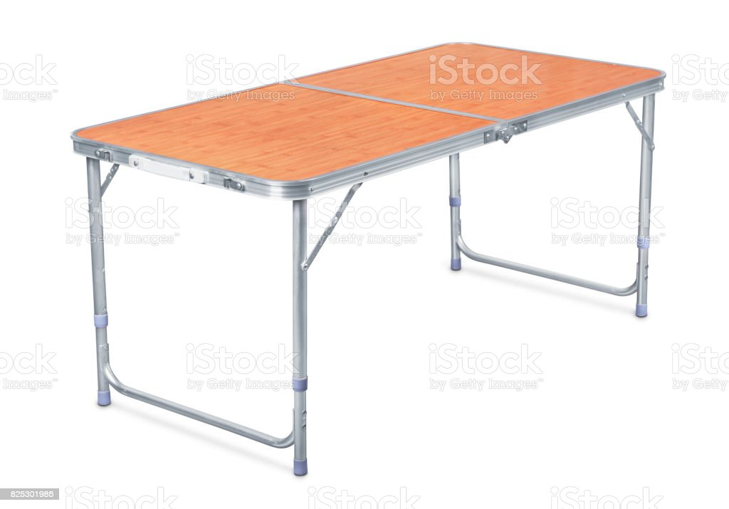 Folding camping table stock photo